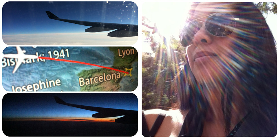 multiple images of route to barcelona and Spanish sun
