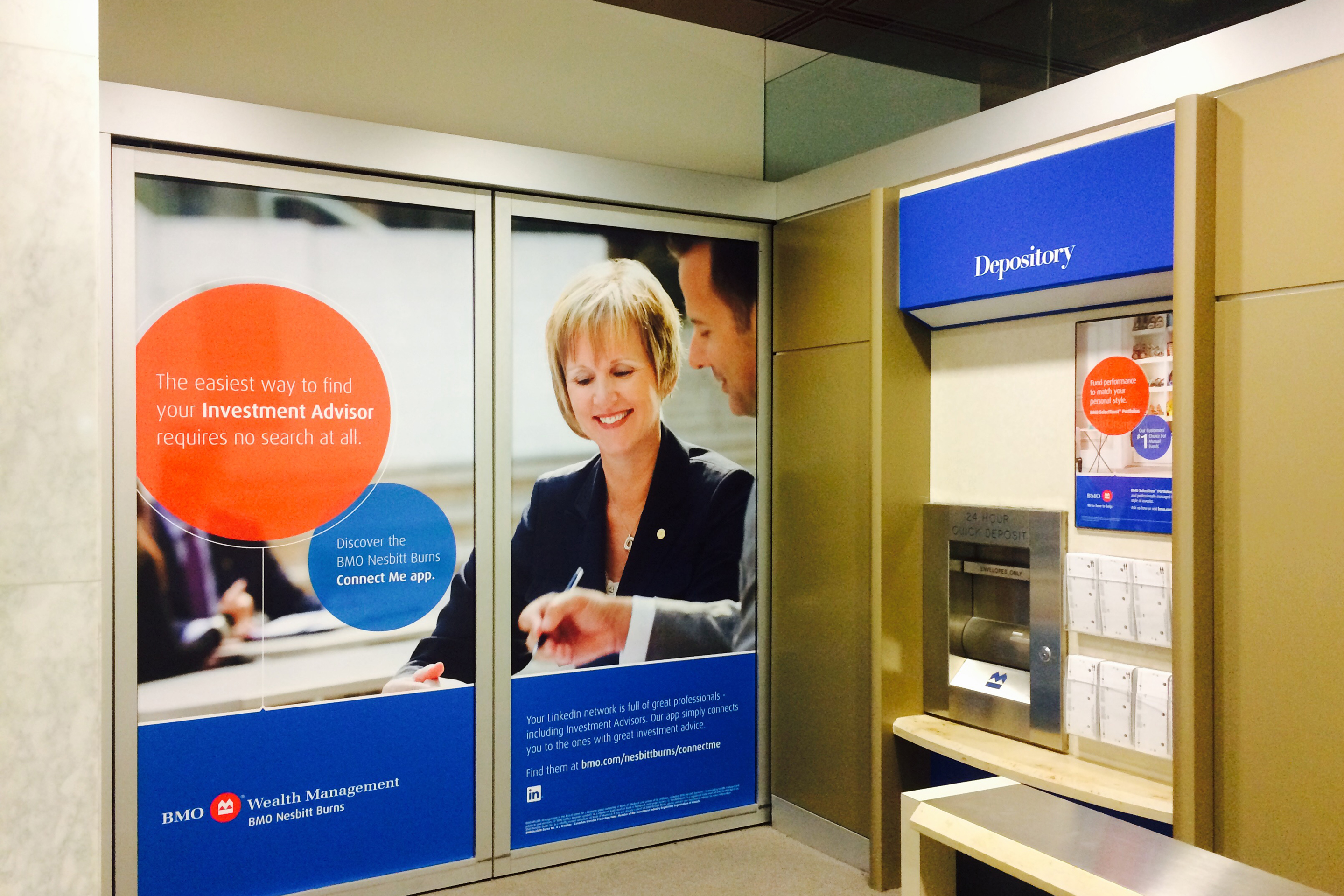 Corporate photography example of BMO ATM machine branding